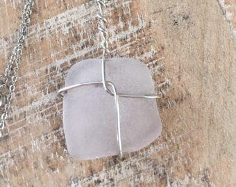 Clear SeaGlass Handmade Pendant on Chain Necklace #flashsale