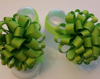 Lime Green Bubble Bow Baby Barefoot Sandals