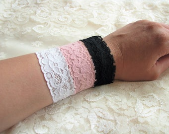 Lace bracelet Girl gift for her Daughter gift Bracelet set Pink bracelet White bracelet Black bracelet Skinny Stretch lace Christmas gift