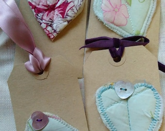 Four Gift Tags - Vintage hearts