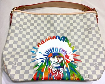 "Custom handpainted Louis Vuitton bag...""Native American Indian""...Customer provided the bag...Made to Order!!!"