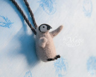 Necklace with needle felted penguin, bird jewelry, baby penguin toy, needle felt bird, penguin charm, penguin art, bird gift, penguin party