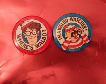 Where's Waldo Vintage Buttons 2 1/8 inch