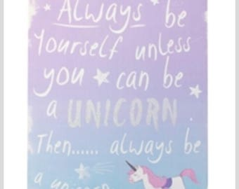 Unicorn plaque, unicorn sign, unicorn picture, unicorn nursery, girls nursery,
