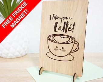 I like you a latte! Wooden love / I like you gift card. Hand made timber card.