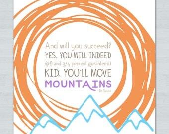 Move Mountains Inspirational Square Print