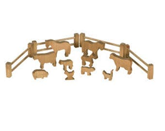 Children's Toy Set of 10 Wooden Farm Animals with 4 Fence Pieces - Amish Made in the USA - Model#131H - Free Shipping!