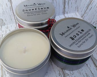 Hand Poured Travel Sized CHRISTMAS Natural Soy Wax Tin Candle - Choose Scent