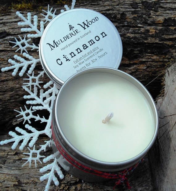 Hand Poured Spicy Pure Cinnamon CHRISTMAS Natural Soy Wax Tin Candle