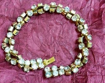 Twisted Double Strand Rhinestone Bracelet Vintage 1970's