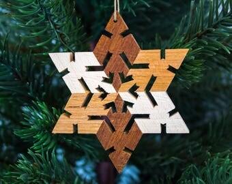 Wood Snowflake Ornament - Christmas Ornaments Handmade - Wood Christmas Ornaments -  Wood Star Ornaments - Rustic Wooden Ornaments