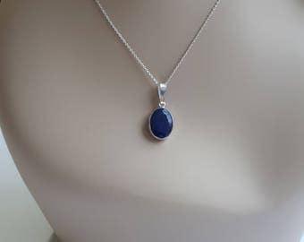 Silver lapis lazuli pendant, small, sterling silver
