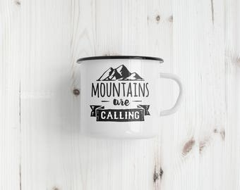 Mountains Are Calling | 10 oz Stainless Steel Camping Mug | Camping Coffee Mug | Adventure Saying Mug | Camp Enthusiast Coffee Mug