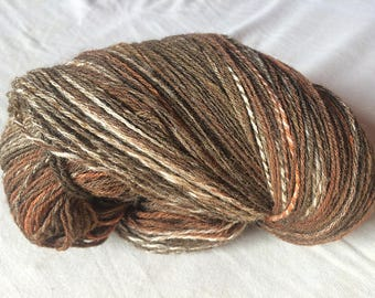 Handspun & handdyed merino 24 mic - WOOD - light fingering 3 ply 100 g (3,5 oz) and 460 m (500 yards) in total, 2 skeins