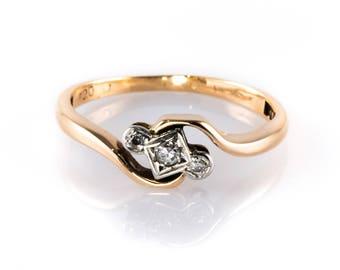 Vintage 9ct Gold And Platinum Diamond Engagement Ring