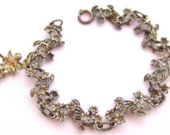 Beautiful Ornate Vintage Flower Linked Sterling Silver Angel Charm Bracelet*D236
