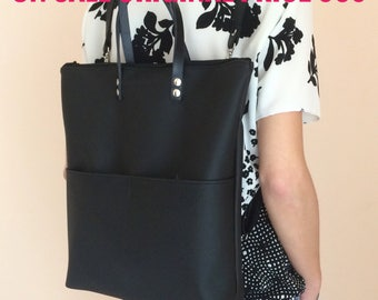 ON SALE! Convertible tote backpack, black tote bag, black backpack faux leather