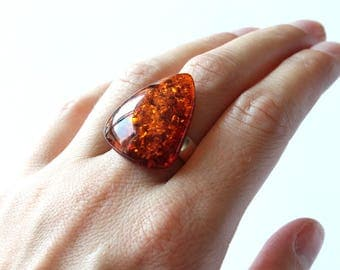 Large amber ring, amber jewelry, amber silver ring, natural Baltic amber, massive cognac amber ring, gemstone ring, gift for mum, jewelry