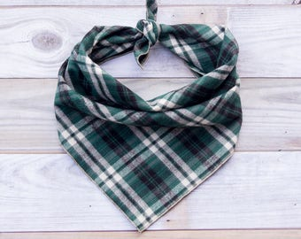 Green Plaid Dog Bandana, Plaid Dog Bandana, Plaid Flannel Dog Bandana, Tie On Bandana