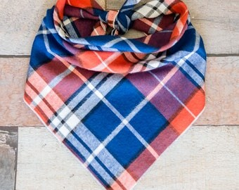 Blue Rusty-Reddish-Orange Plaid Dog Bandana, Plaid Flannel Bandana, Tie Bandana