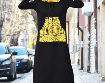 Extravagant Turtleneck Dress, Black Maxi Dress, Plus Size Kaftan, Winter Dress, Cotton Dress, Warm Long Dress by SSDfashion