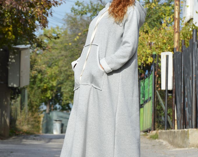 Long Grey Hooded Loose Dress, Extravagant Dress Outside pockets, New Winter Maxi Dress by SSDfashion