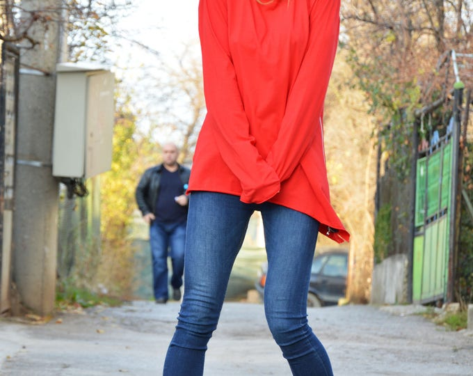 Red Cotton Blouse with Zipper, Extra Long Sleeves Asymmetric Top, Soft Fabric Extravagant Blouse by SSDfashion