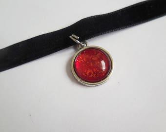 Black velvet red pendant choker handmade