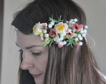 Bridal floral crown Flower Crown Wedding Tiara Wedding flower crown Fairy Crown Wreath Hair crown Floral garland Bridal Hair Wreath  LV12