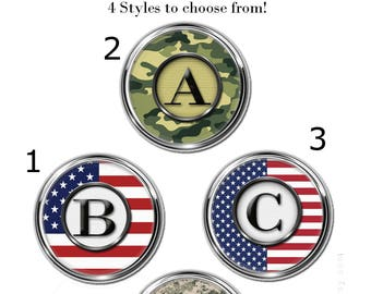 1 Snap Charm, Patriotic & Military Initial Snap Charm Collection, several styles to choose from, available in A to Z