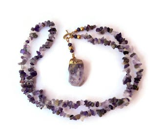Raw amethyst necklace, Purple Jewelry, Long pendant necklace, Amethyst jewelry, Purple necklace, Stone pendant necklace, February birthstone