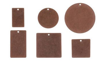Metal Stamping Blanks Copper Blanks Engraving Blanks Hand Stamping Circle Pendant Square Pendant Rectangle Jewelry Stamping  6 pieces