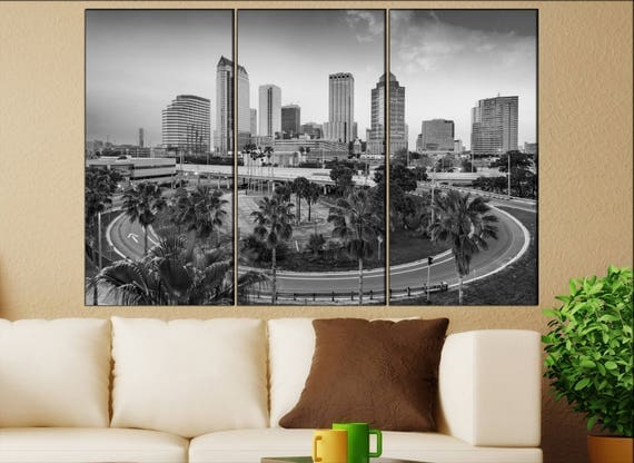 Tampa, Florida skyline canvas wall art  Tampa canvas wall art art Tampa wall decoration Tampa large canvas wall art