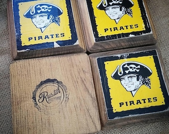 Pittsburgh Pirates Rustic Wooden Coaster Set