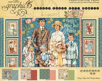 """Graphic 45 """"Penny's Paper Doll Family"""" 8 x 8 Paper Pad"""