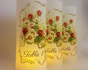 Script Table Number - Table Number Ideas - Table Numbers - Wedding Luminary - Wedding Decor - Wedding Signs - Table Number Wedding