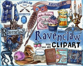 Ravenclaw clipart, Harry Potter clipart, Harry potter party, Hogwarts house, printable journal, planner stickers, Luna Lovegood, scrapbook