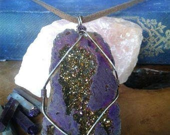 FREE SHIPPING! Deep purple natural Crystal necklace, wire wrapped, leather