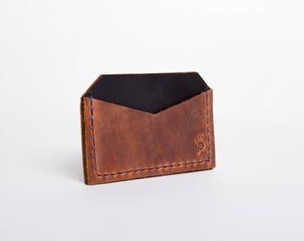 Leather Reverse Card Holder Wallet | Brown & Black