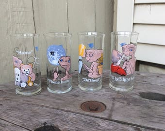Set of Four Vintage  1982 Pizza Hut ET Glasses