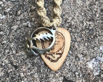 Handmade Hemp Necklace with Deadhead Wood SYF Guitar Pick Pendant