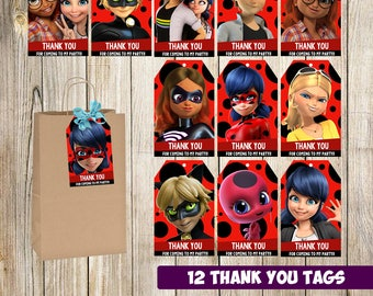12 miraculous ladybug Thank you tags instant download, Printable miraculous ladybug Thank you cards. gift tags, miraculous ladybug printable