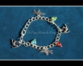 Cats and birds charm chain bracelet