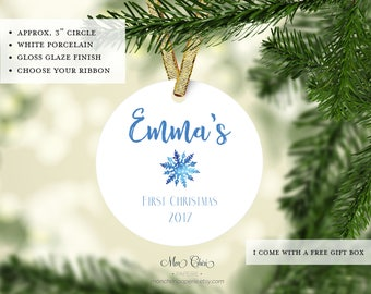Baby's 1st Christmas Ornament | Baby Ornament | Name Ornament | Christmas Gift | Ornament for Baby | Snowflake | First Christmas