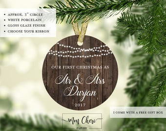 Rustic Wood First Christmas as Mr and Mrs   Ornament | Christmas Ornament | Married Ornament Christmas Gift Newlywed First Christmas Married