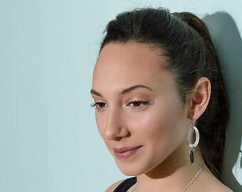 Striped Loop Earrings,Boho Earring,Art Earrings,Large Earring,big Earrings,Modern earrings,bohemian jewelry,silver earrings,Wedding earrings