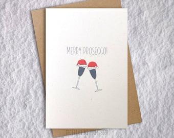 Merry Prosecco Christmas Card, , funny Christmas Card