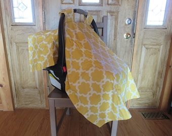Car Seat Canopy- Car Seat Cover- Yellow with White Medallion Print