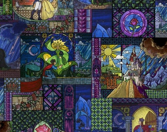 Disney Beauty and The Beast Stained Glass Premium 100% Cotton fabric (In Stock)