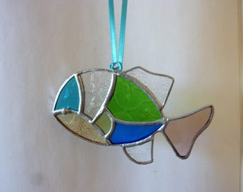 Stained glass fish suncatcher.Fish ornament.